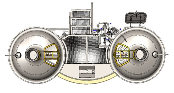 Modulo Classic 500 brewhouse - top view on the wort brew machine
