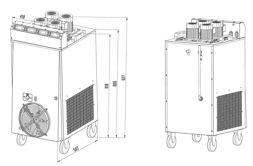 clc 04 dimensions - CLC-4P2300 Compact liquid cooler 2.3 kW with four pumps and temperature regulators - hba, clc