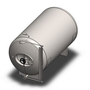 BBTHN-100C Cylindrical pressure tank for storage and final conditioning of carbonated beverage before bottling, horizontal, non-insulated, 100/120L, 3.0bar