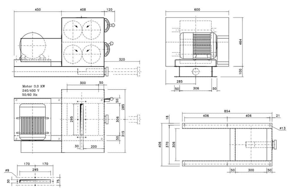 mmr 1200 4r dimenskons - MM-1200-4R : Malt mill - machine to squeezing of malt grains, 3 kW - 1200kg / hour - with four rollers - malt-mills-crushers