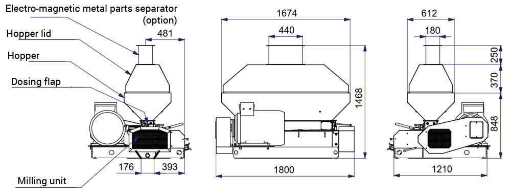 mmr 1200 description - MMR-1200 : Malt mill - machine to squeezing of malt grains, 45kW 9000-11100 kg/hr - wide rollers - malt-mills-crushers