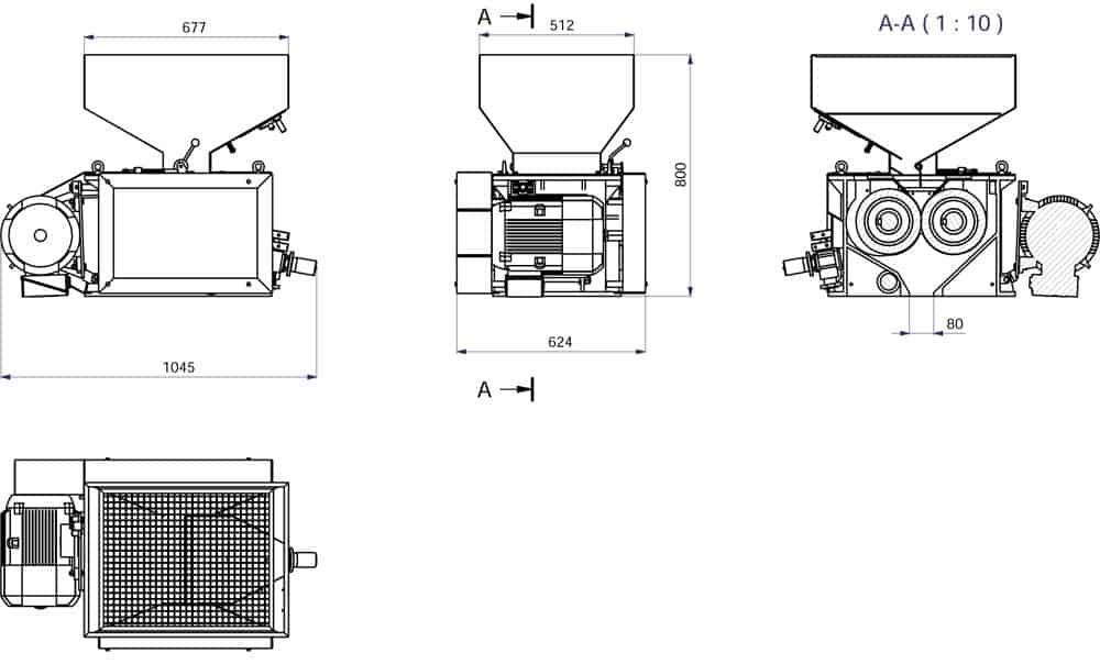 mmr 300 description machine - MMR-300 : Malt mill - machine to squeezing of malt grains, 5.5 kW 1200-1800 kg/hr - wide rollers - malt-mills-crushers