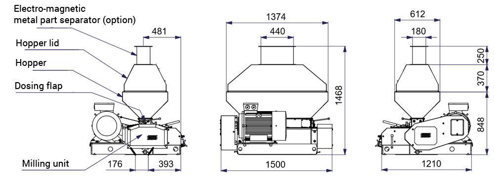 mmr 900 description - MMR-900 : Malt mill - machine to squeezing of malt grains, 37kW 6000-8000 kg/hr - wide rollers - malt-mills-crushers
