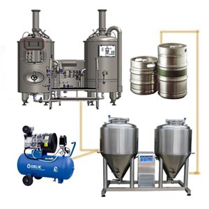 Modular brewery system wit the FUIC-CHP2C-2x1500CCT fermentation unit