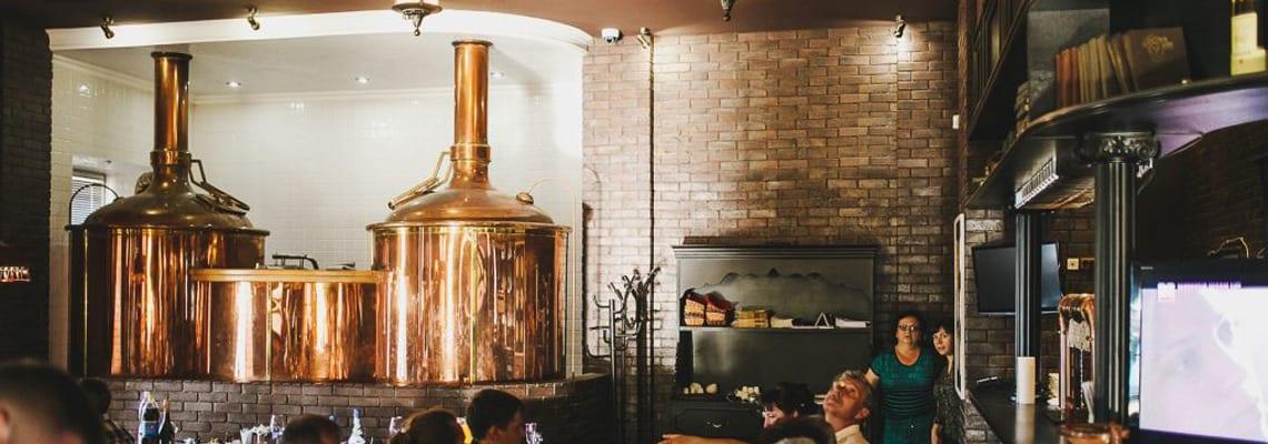 Breworx Classic brewhouse wort machine in the brewery restaurant interior