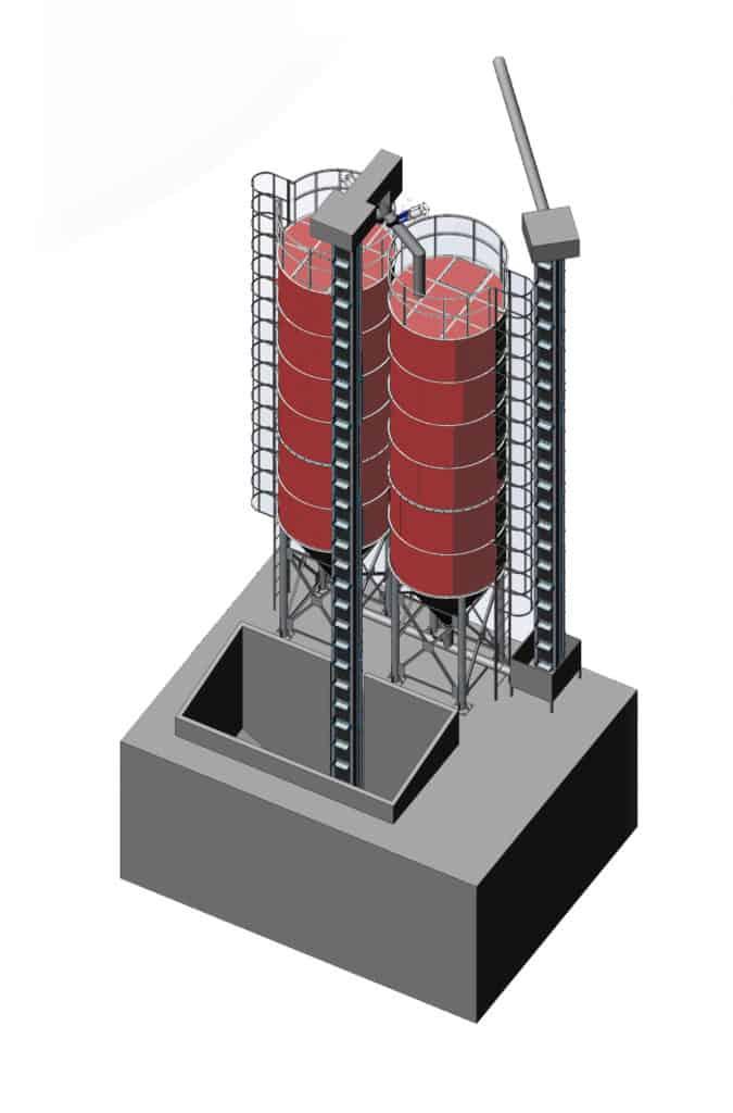 ssm 2x40 1000 1 675x1024 - MSS-2x40 Malt storage silo 2x40m3 - the fully equipped system - storage-silos