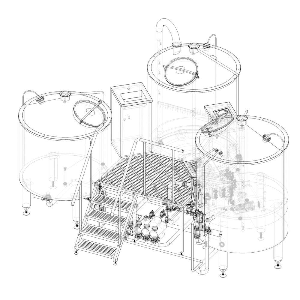 Scheme of the BREWORX TRITANK wort brew machine